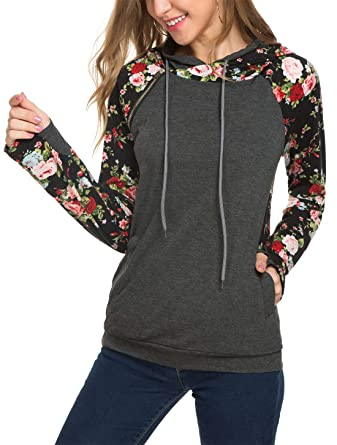 76ebf9789fd6 KorMei Womens Hoodies Sweatshirts Long Sleeve Funnel Neck Pullover Hooded  Tops with Pockets S Grey Flowers
