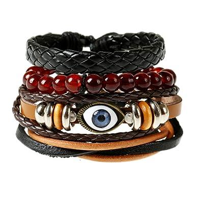 26535276e336a Sukkhi Exquisite Adjustable Brown Beads Leather Bracelet for Men ...