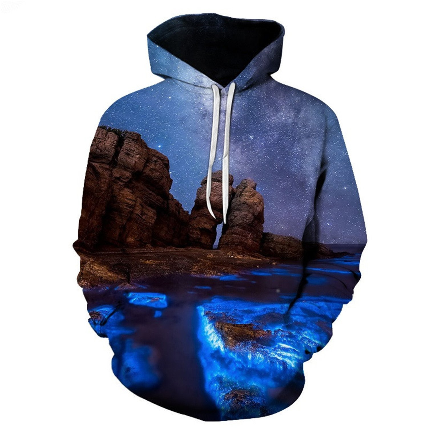 Matterin Christiao Funny Printed Landscape Hoodies Men Women Sweatshirts Loose Pocket Jackets 3D Pullover Hooded Outwear