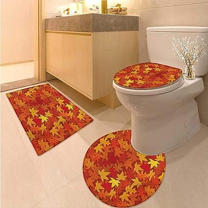 Amazon Com Anhuthree Orange Bath Mat And Toilet Mat Set Colorful