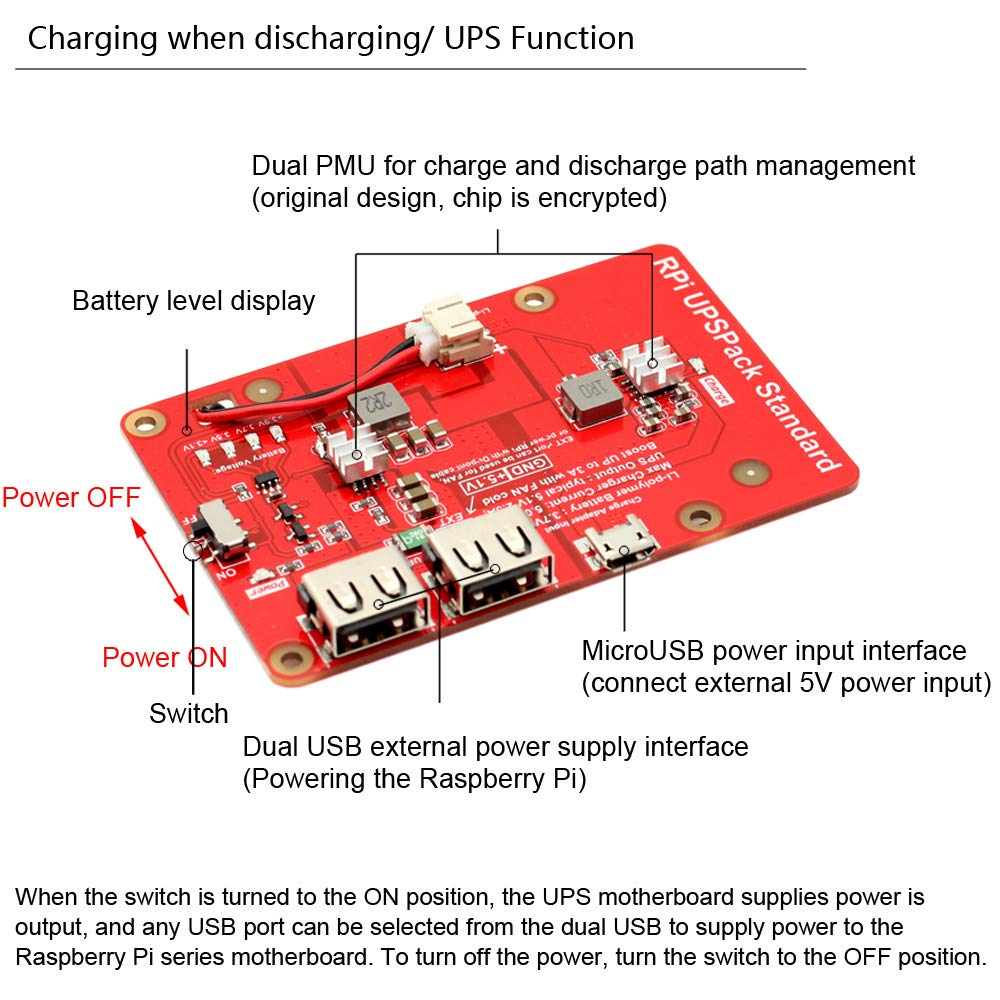 MakerFocus Raspberry Pi Battery Pack,(Raspberry Pi Battery, USB Battery Pack Raspberry Pi,) Expansion Board Power Supply with Switch for Cellphone and Raspberry Pi 3 Model B B+ and Pi 2B B+ by MakerFocus (Image #3)