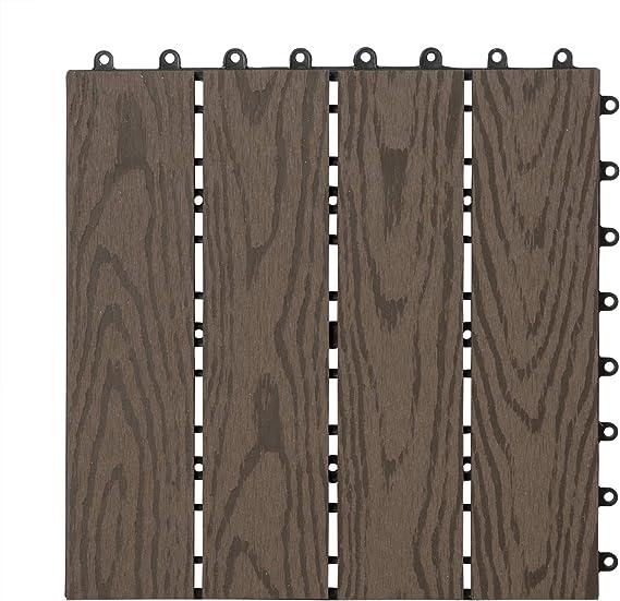 WOLTU Suelo de WPC Set de 11 Baldosas de Madera Exterior para Porche Patios Jardin, 30 x 30 cm 1m² Suelo de Exterior Compuesta Azulejos para Terraza, Jardin Marrón ...