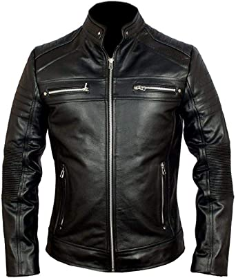 Men/'s Biker Cafe Racer Black Vintage Motorcycle Real Leather Retro Style Jacket