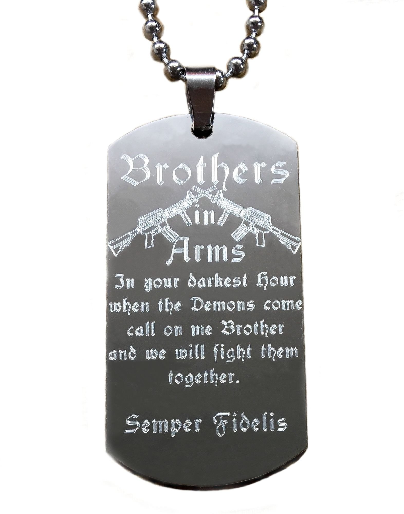 Real Bullet Design Personalized Dog-Tag Brothers in ARMS in Your Darkest Hour When The Demons Come.we Will Fight Them Together + Name-Engraving !Free!