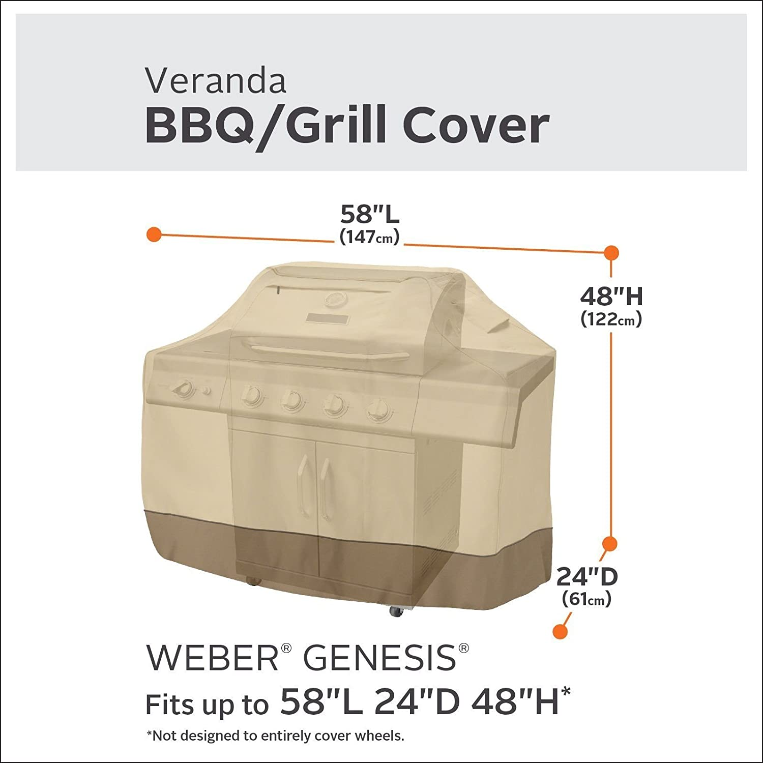 """BBQ Grill Cover 58/"""" 64/"""" 70/"""" 72/"""" Gas Barbecue Heavy Duty Waterproof Outdoor Weber"""