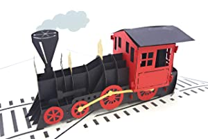 PopLife Steam Engine Train 3D Pop Up Greeting Card for All Occasions - Model Hobby, Railway Conductor - Folds Flat for Mailing - Birthday, Graduation, Retirement, Work Anniversary, Christmas, Holidays