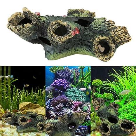 Malloom Fish Tank adorno ornamento del acuario paisaje de la decoración (Tronco (12 cm