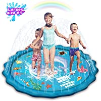 "Abida Splash Pad, 67"" Outside Sprinkler Play Mat for Kids, Extra Large Party Infant Wading Pool Fun Summer Outdoor Water Toys for 2-12 Years Old Baby and Toddler Girls and Boys"