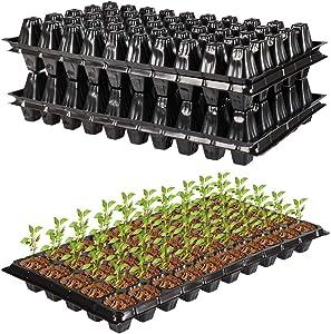 LIVEBAY Seed Starter Kit 15 PCS Plant Germination Trays 50 Cells Seedling Trays with Drain Holes Mini Garden Propagator Set Seed Plant Grow