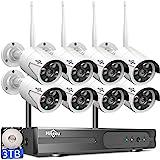 【3TB HDD Pre-Install 】 Hiseeu Wireless Security Camera System 8 CH NVR 8Pcs HD 2K Indoor/Outdoor WiFi Surveillance Camera Wir