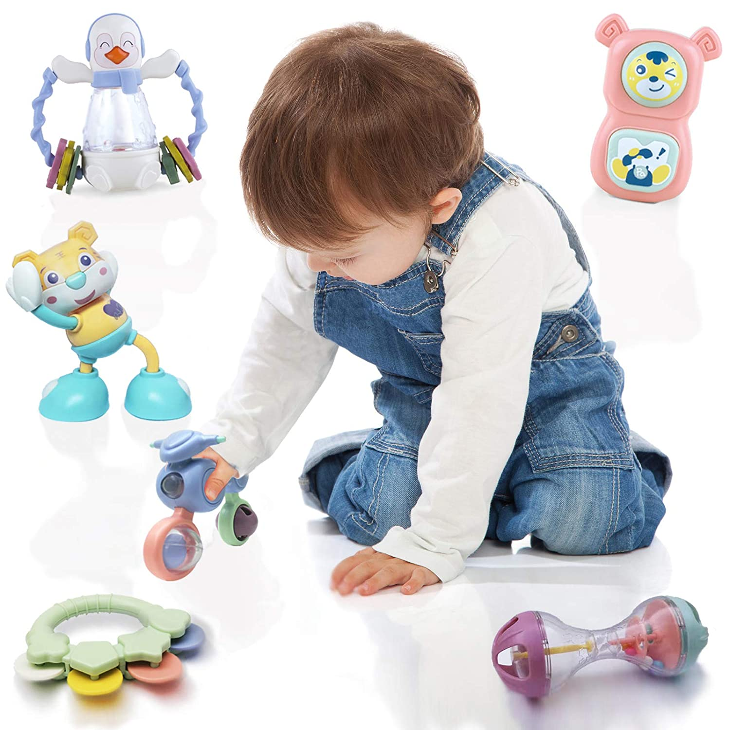 Luddy Baby Rattle Toys Newborn Gift Rattles Set Shaking Hum Dumbell Horn Sensory Toy for 6 to 12 Months 8 PCS