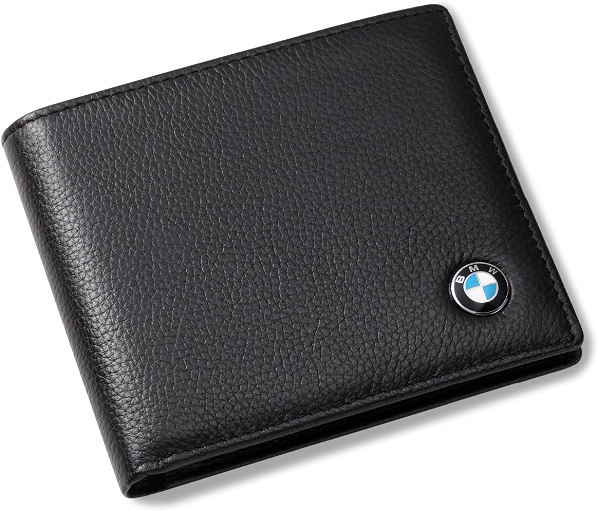 BMW Bifold Wallet with 3 Credit Card Slots and ID Window - Genuine Leather