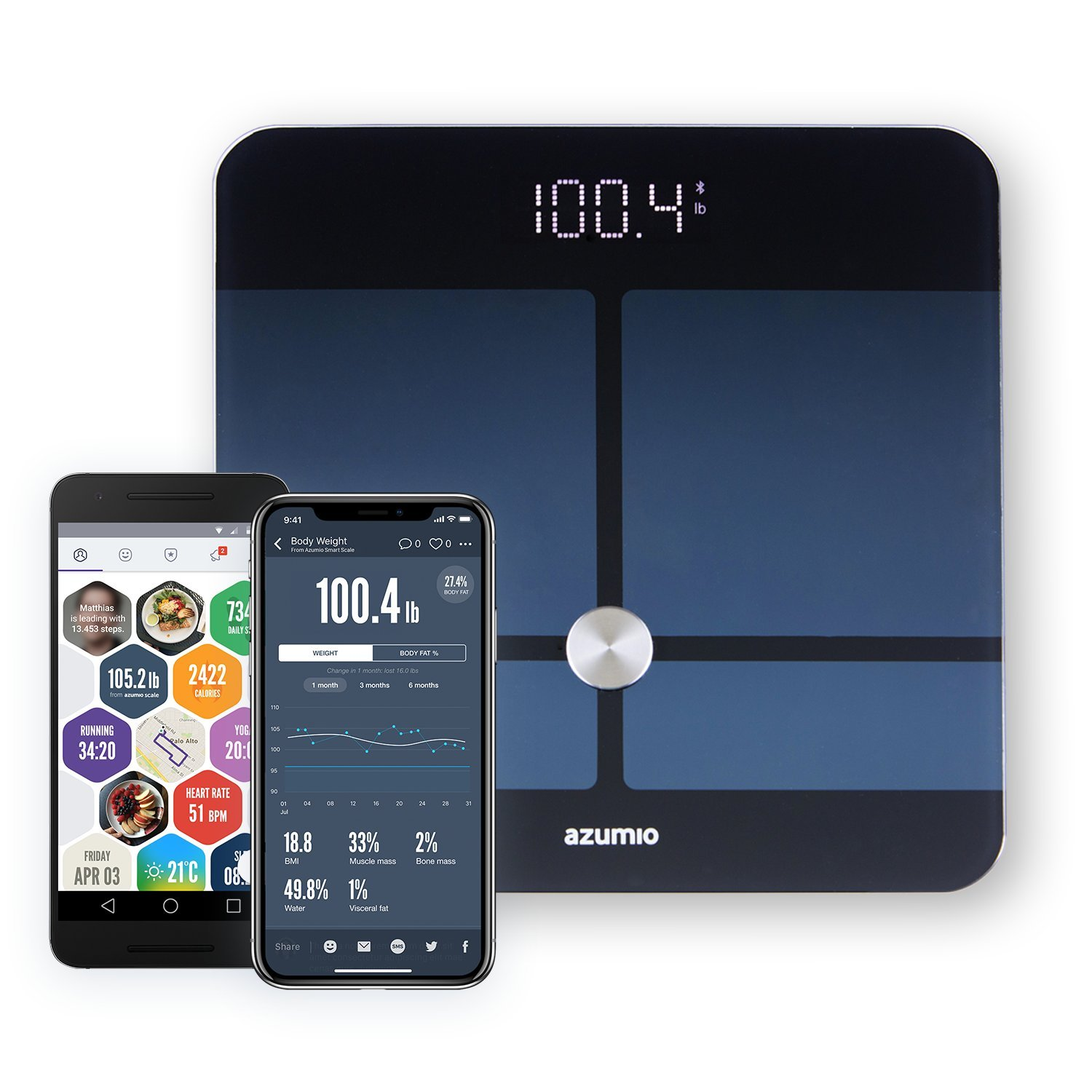 Azumio Bluetooth Digital Smart Scale for Body Weight | 6mm Tempered Glass LED Display Measures Body Fat, Visceral, BMI, BMR, Muscle Mass, Bone Mass Water Weight in KG or LB | iOS & Android Compatible