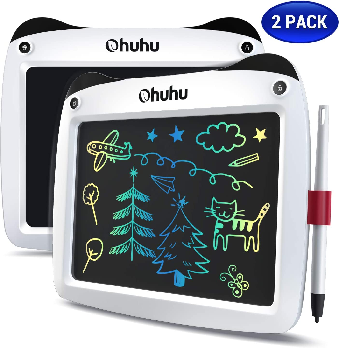 "LCD Writing Tablet Colorful Screen, Ohuhu 2 Pack 9"" Electronic Drawing Doodle Board, LCD Digital Handwriting Pad Gifts for Kids Children at Home and School, Scribble and Play Learning Boards Ages 3+"