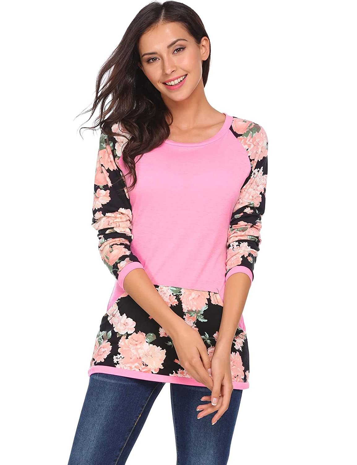 Meaneor Women's Floral Printed Splicing Pattern Crewneck Front Pocket Long Sleeve Top