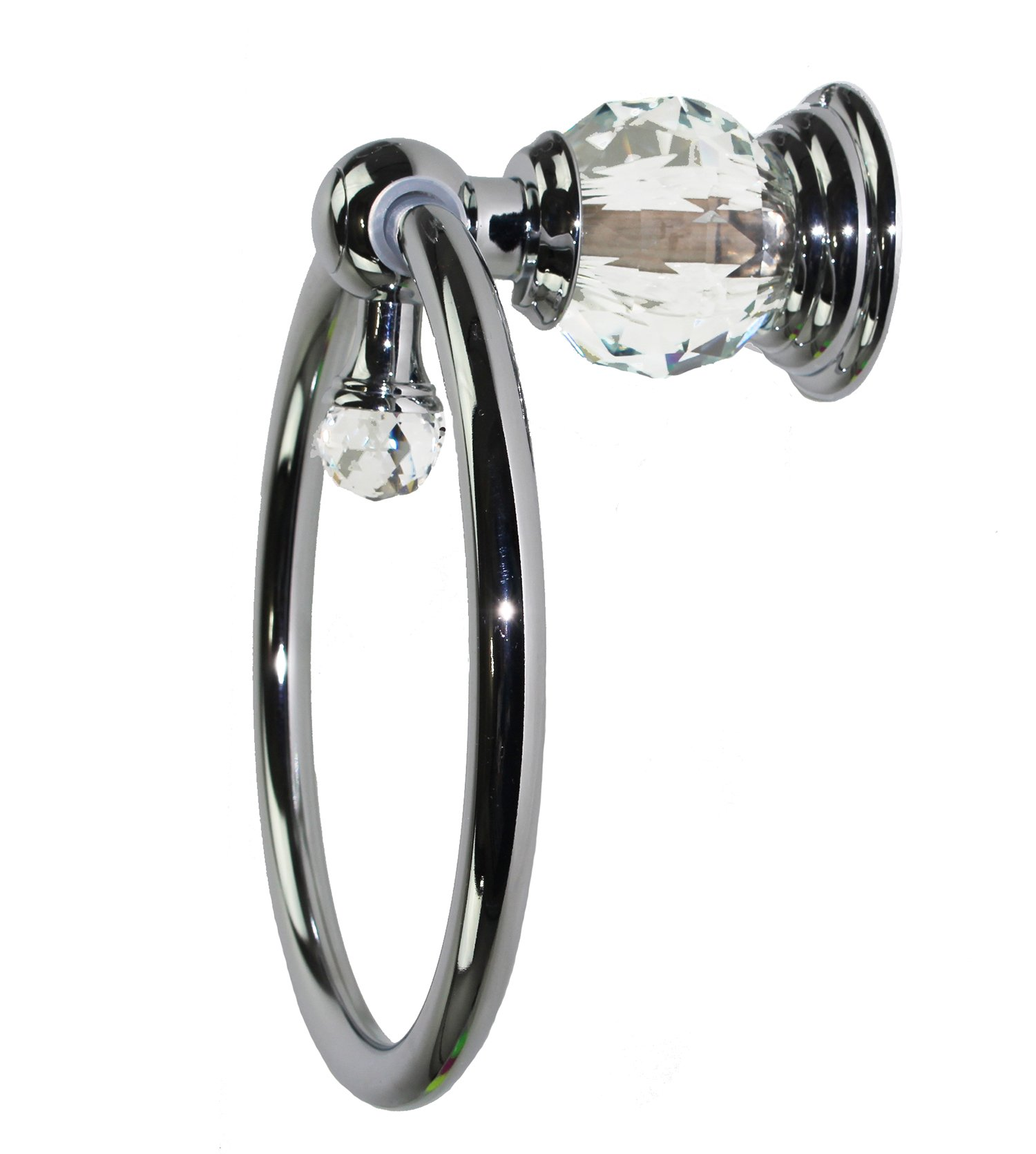 Decor Hut Chrome & Crystal Towel Ring Vanity Towel Holder Wall Mounted with Screws Included Round Silver By by Decor Hut