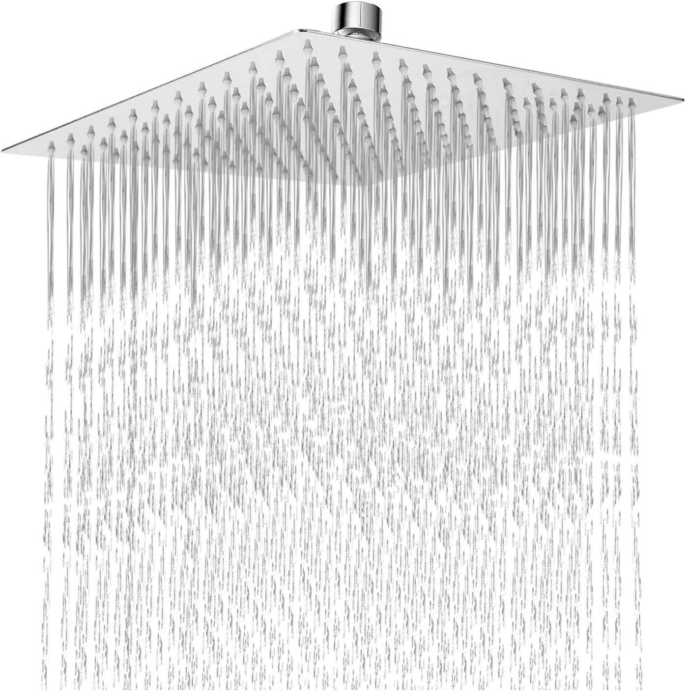 Large Staineless Steel Rain Shower Head, HarJue 12 Inch Square High Pressure High Flow Showerhead, full Body Covering, Universal Wall and Ceiling Mount, Adjustable Angle