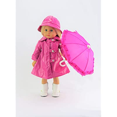 American Fashion World Magenta Raincoat with Hat and Umbrella fits 18 Inch Doll: Toys & Games