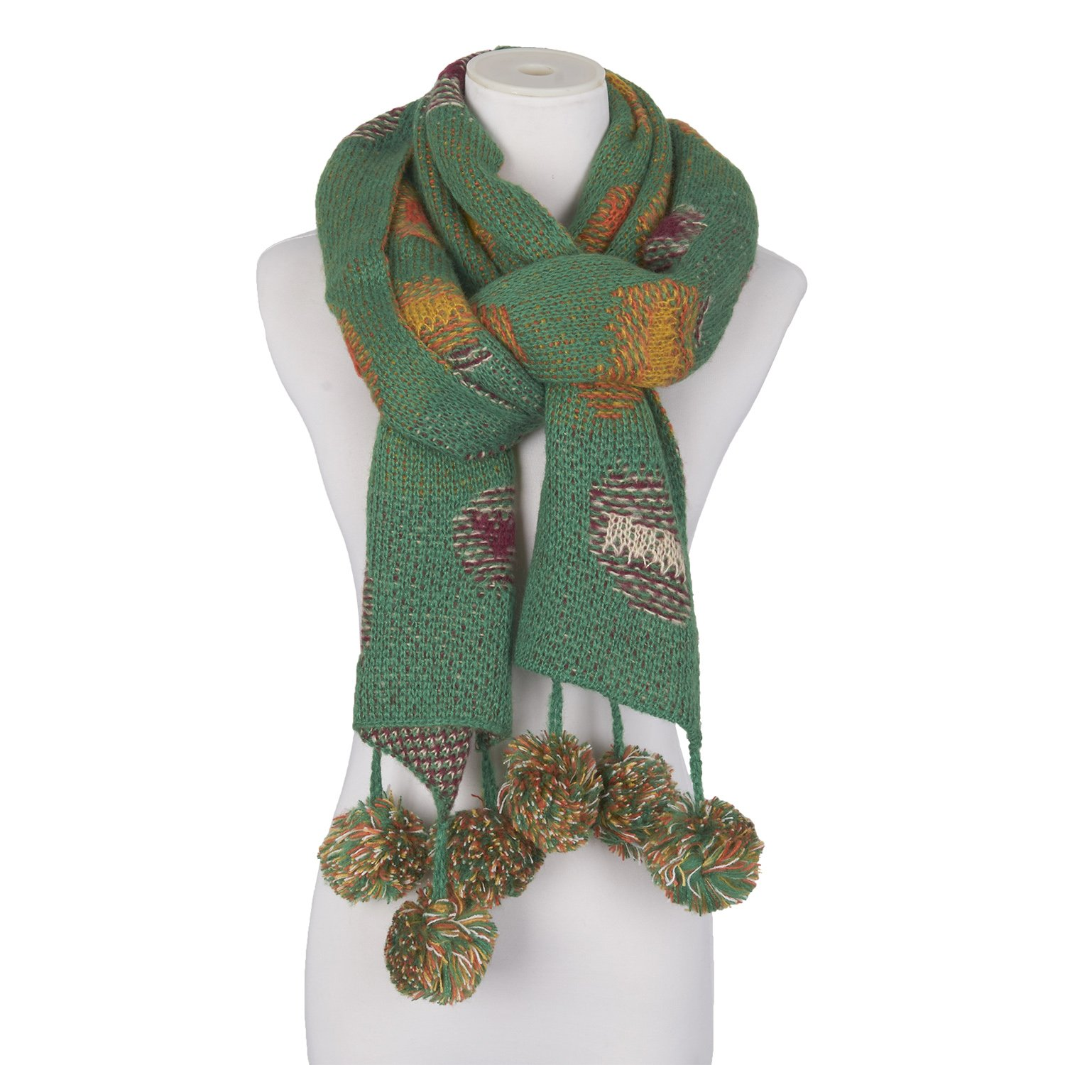 Double Face Knit Jacquard Weave Patch Scarf Muffler Colorful Warm Fashion Girls