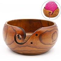 Handgefertigt aus Holz Garn Schüssel rund Form 5,5× 8,1cm Wolle Holder Organizer für Stricken Crochet