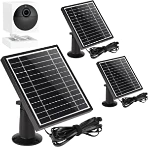 UYODM 3Pack Solar Panel for Wyze Cam Outdoor | Weather Resistant, 16.5Ft Outdoor Power Charging Cable, Adjustable Mount | Not for Wyze/Wyze v3 - Black
