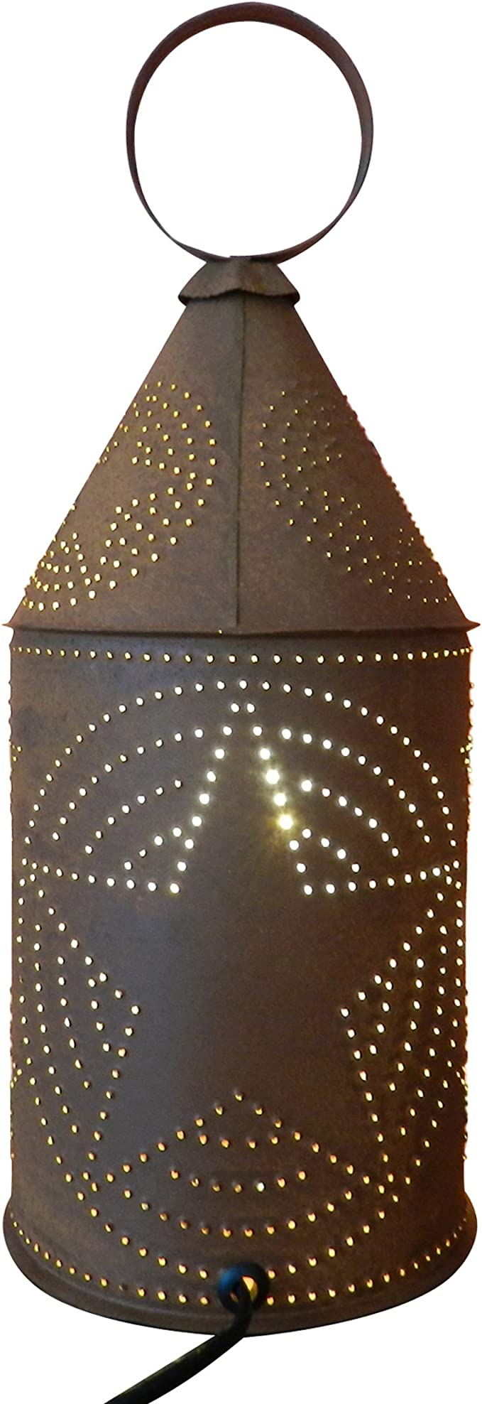 """PRIMITIVE 10/"""" Colonial Punched Tin Lantern in Smokey Black Finish Accent Piece"""