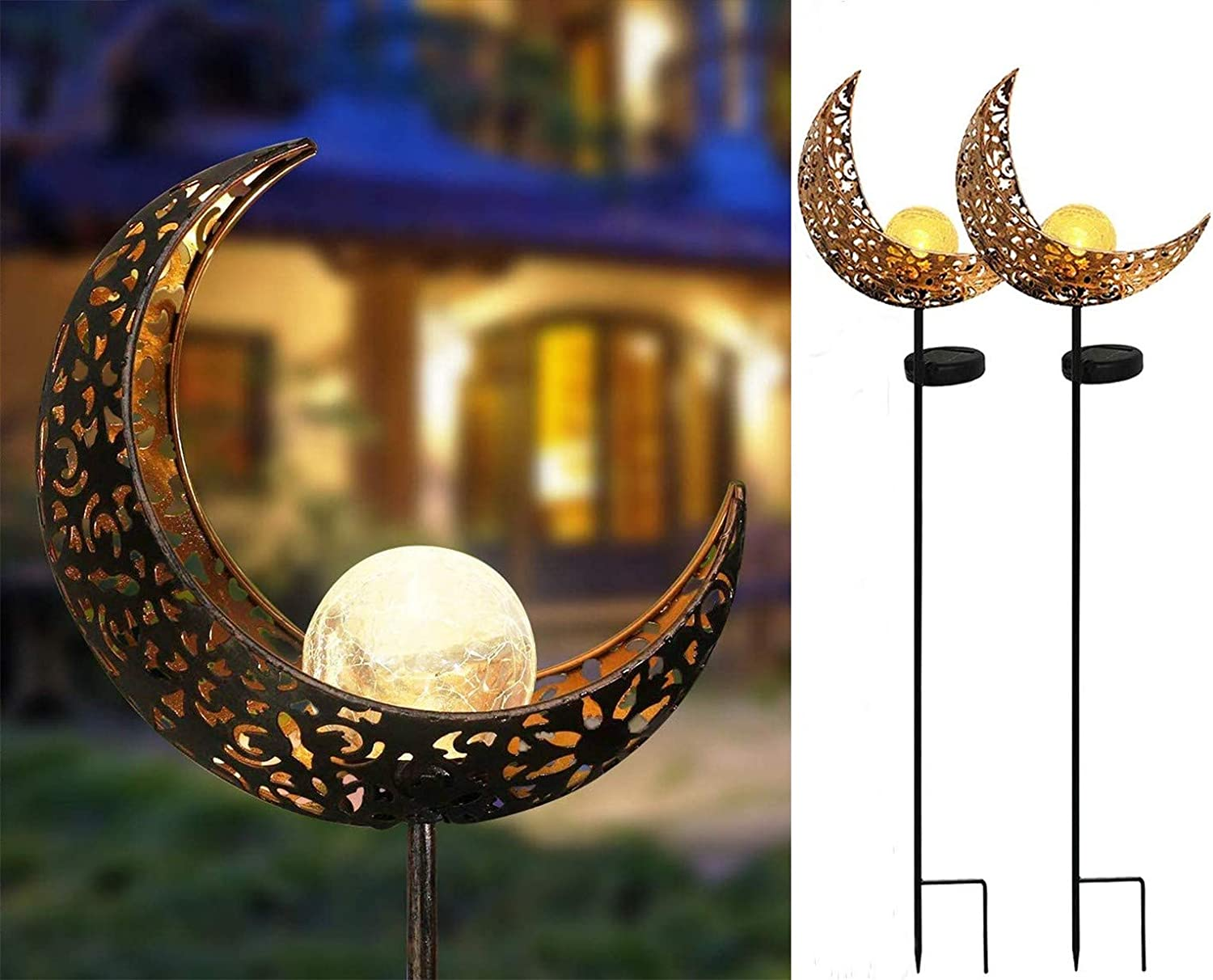 Joyathome Garden Solar Stake Lights Pathway Outdoor Moon Crackle Glass Globe Stake Metal Lights,Waterproof Warm White LED for Lawn,Patio or Courtyard
