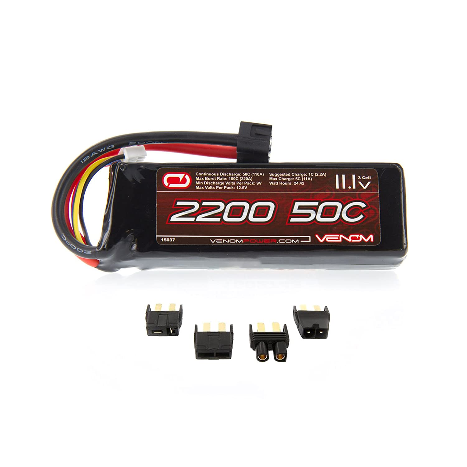 Amazon Venom 50C 3S 2200mAh 11 1V LiPo Battery with Universal Plug EC3 Deans Traxxas Tamiya Toys & Games
