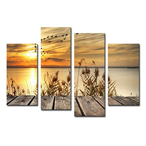 noah art rustic seascape wall art canvas prints dawn on the lake shore landscapes pictures - Wall Decorations For Living Room