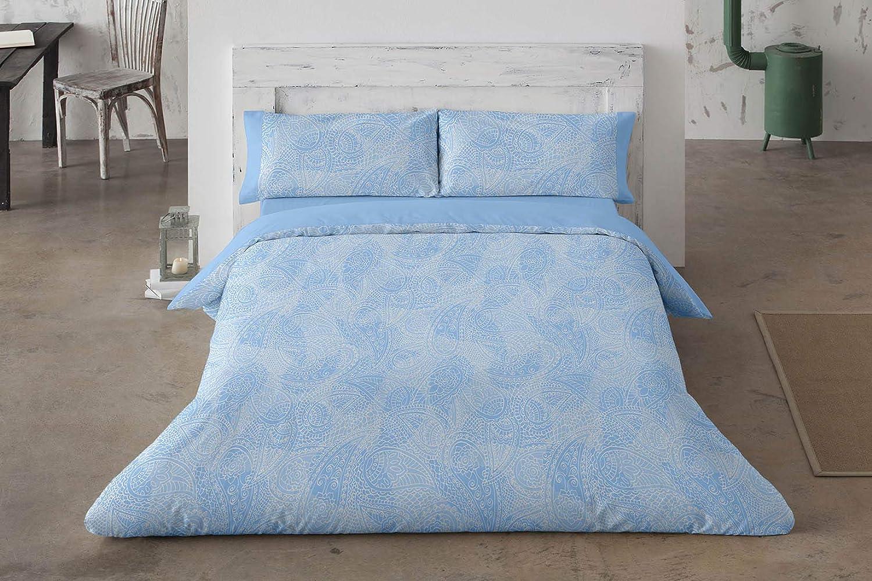 Color Azul Burrito Blanco Juego de Funda N/órdica 457 con un Dise/ño Estampado de Cachemirs para Cama de Matrimonio de 135x190 hasta 135x200 cm//Funda N/órdica Moderna 135