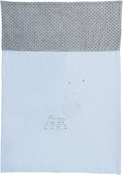 Noukies Housse de Couette Bleu Cocon//Gris Motif Poudre dEtoiles 100 x 140 cm
