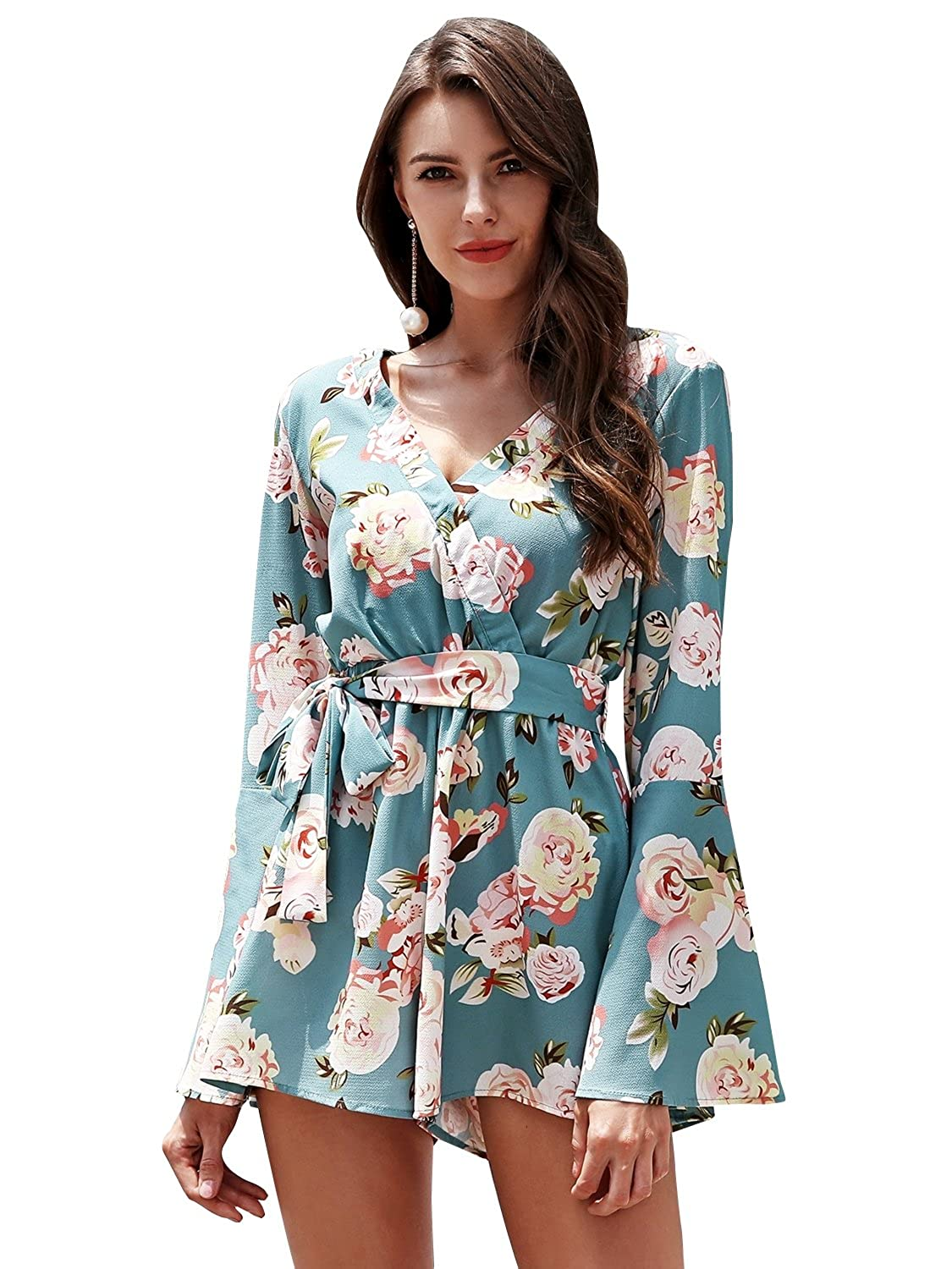 d0949a9de16 Amazon.com  Simplee Apparel Women s Sexy V Neck Chiffon Floral Print Long  Sleeve Jumpsuit Romper  Clothing