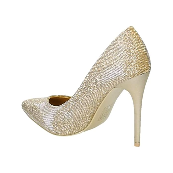 Klassische Damen Glitzer Stilettos Pumps High Heels Plateau Schuhe Spitz 44