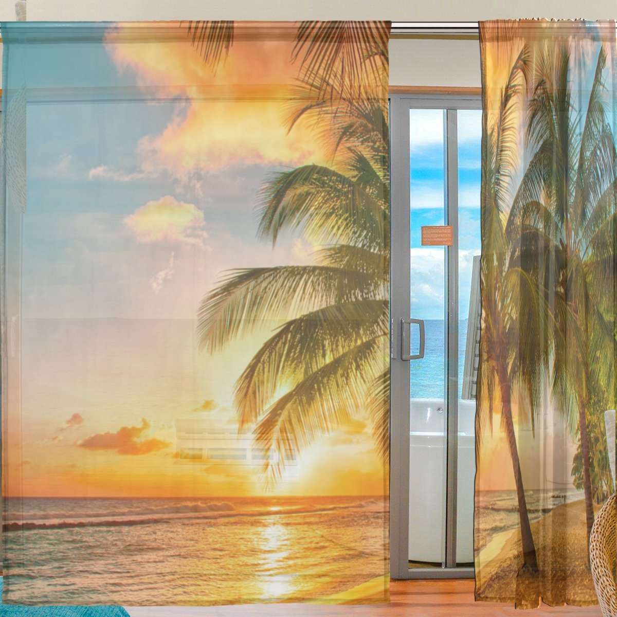 SEULIFE Window Sheer Curtain Hawaiian Tropical Beach Palm Tree Sunset Voile Curtain Drapes for Door Kitchen Living Room Bedroom 55x78 inches 2 Panels