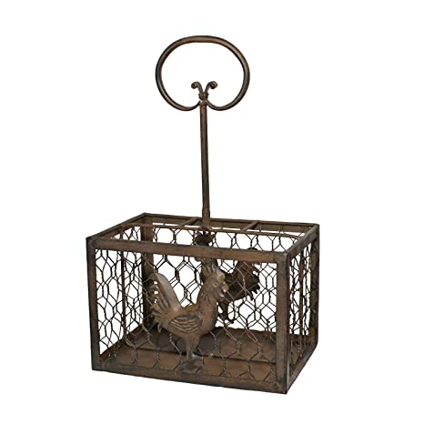 Amazon.com: Chicken Wire Utensil Holder with Rooster Accent (Brown ...