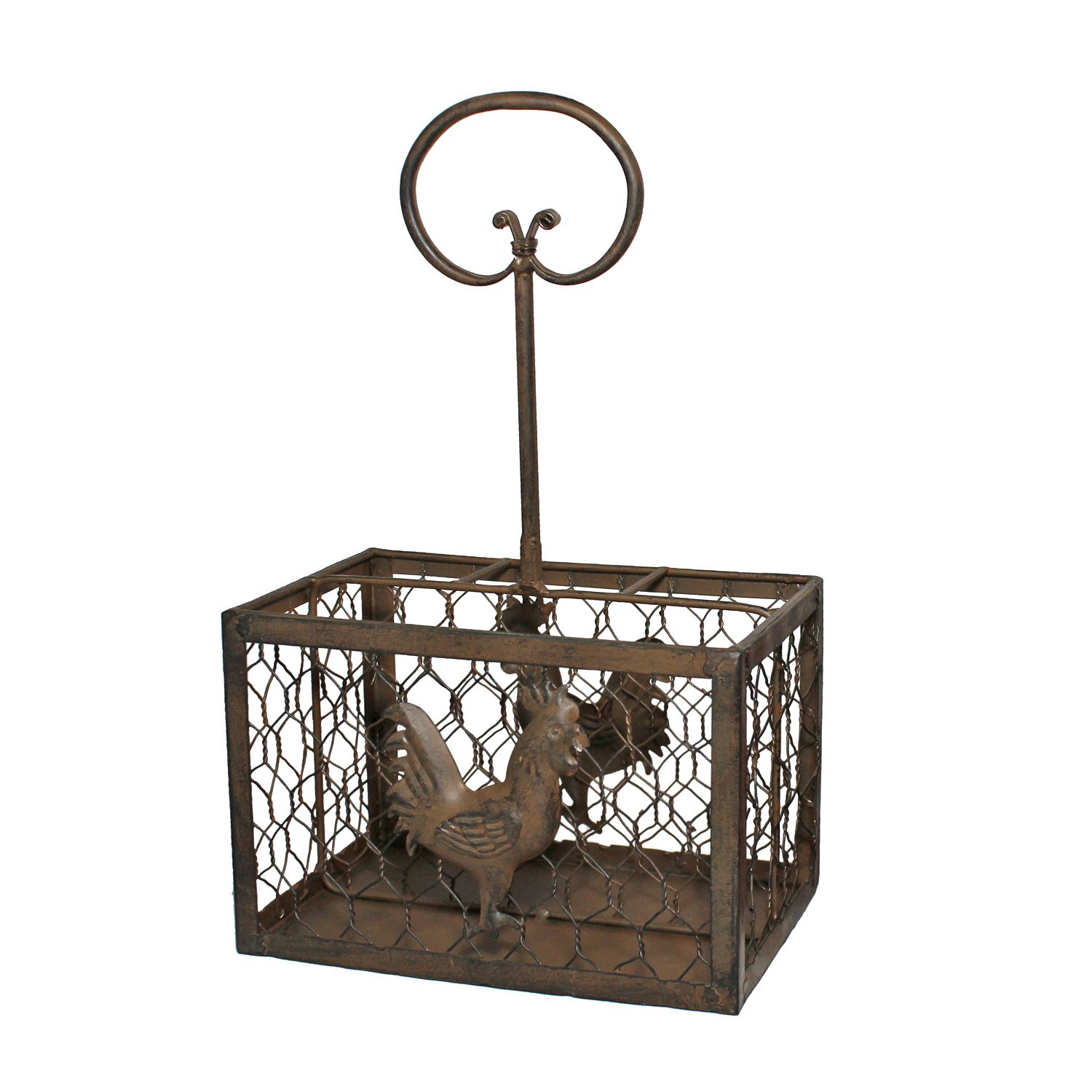 Chicken Wire Utensil Holder with Rooster Accent (Brown)
