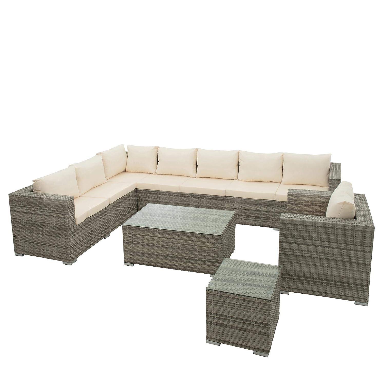 ESTEXO Polyrattan Sitzgruppe Lounge Gartenmöbel Set Rattan Sitzgarnitur Essgruppe Gartenset Gartenlounge Loungemöbel Möbel Sofa Sessel Tisch Grau für 7 Personen