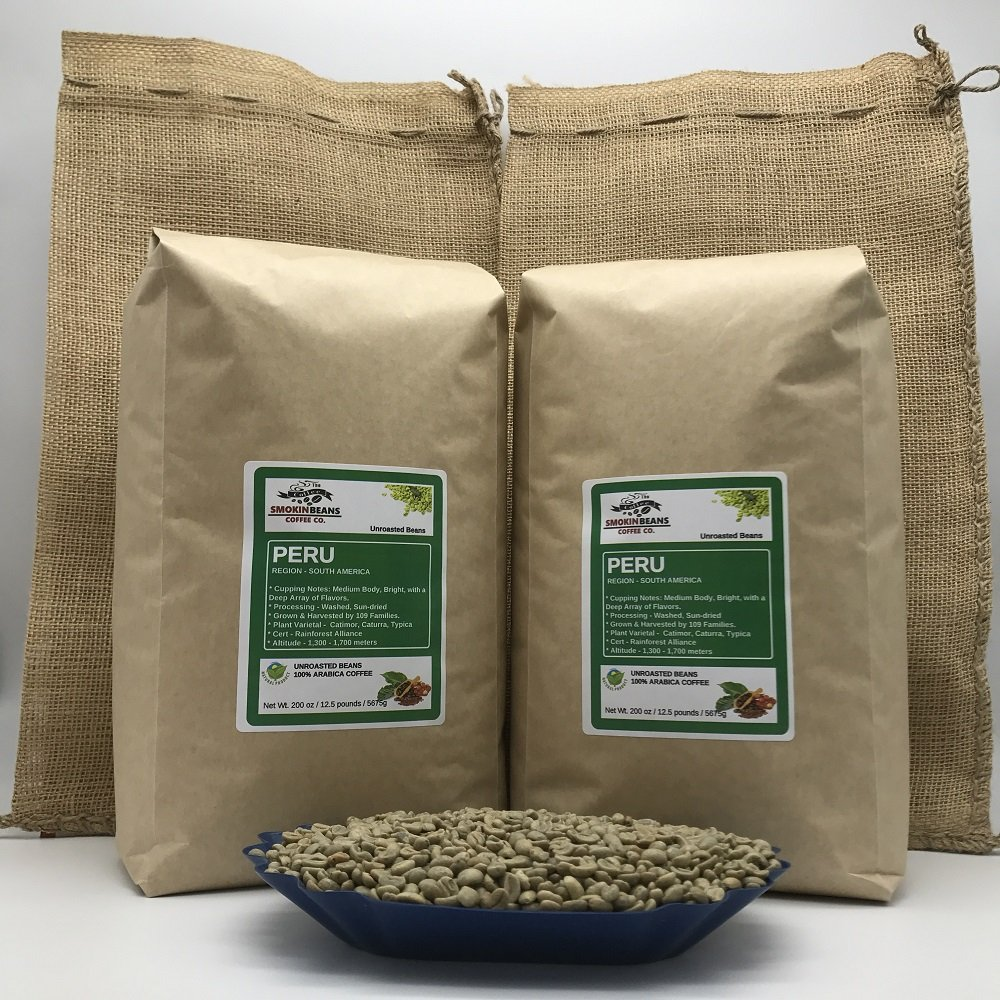 25 LBS – PERU (includes a FREE BURLAP BAG) Specialty-Grade, CURRENT-CROP Green Unroasted Coffee Beans – This Coffee has Proven to be very Versatile and is Excellent as a Blender or Solo