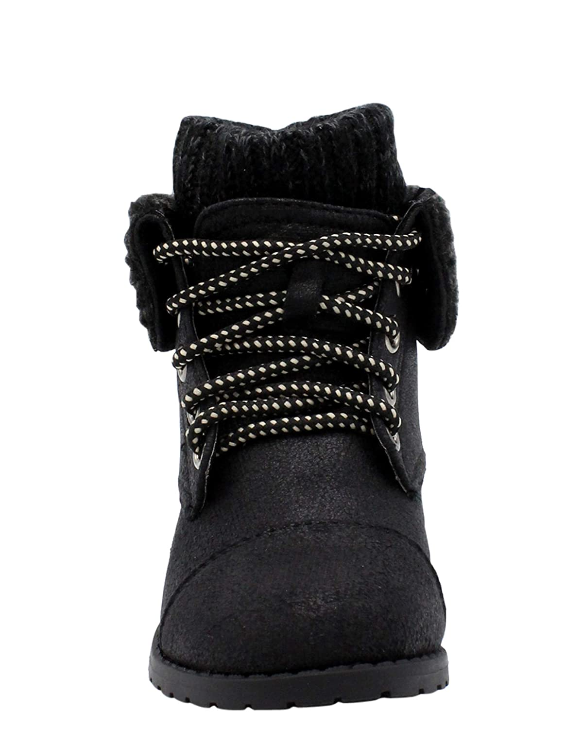 Link Girls Causal Lace Up Sweater Top Ankle Booties