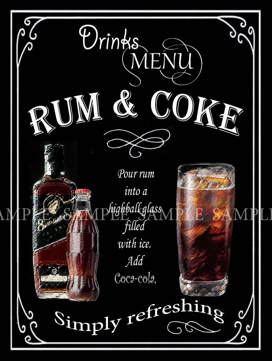 Ron y Coca Cola Retro Pub, Bar, Club, hombre cobertizo, casa ...