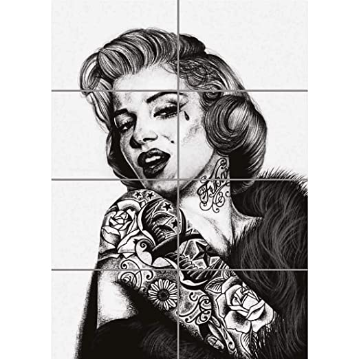 MARILYN MONROE UNIQUE TATTOO ICON GIANT ART PRINT WALL ...