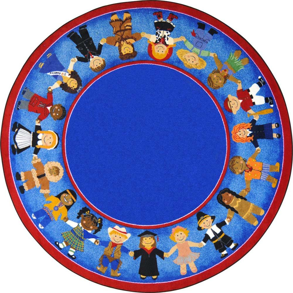 Joy Carpets Kid Essentials Early Childhood Round Children of Many Cultures Rug, Multicolored, 5'4''