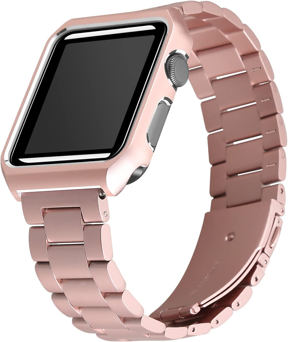 Maxjoy Compatible with Apple Watch Bands 38mm with Case, Adjustable Band Stainless Steel Straps with Magnetic Closure Clasp+Protective Case Replacement for Apple Watch Series 3/2/1, Rose Gold