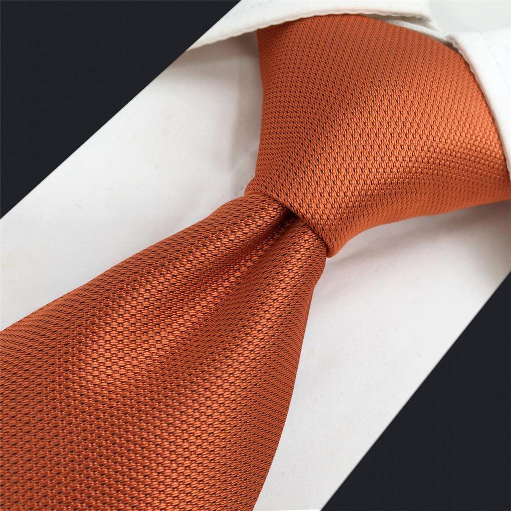 Shlax/&Wing Hombre Seda Corbatas Para Boda Naranja Color S/ólido flaca
