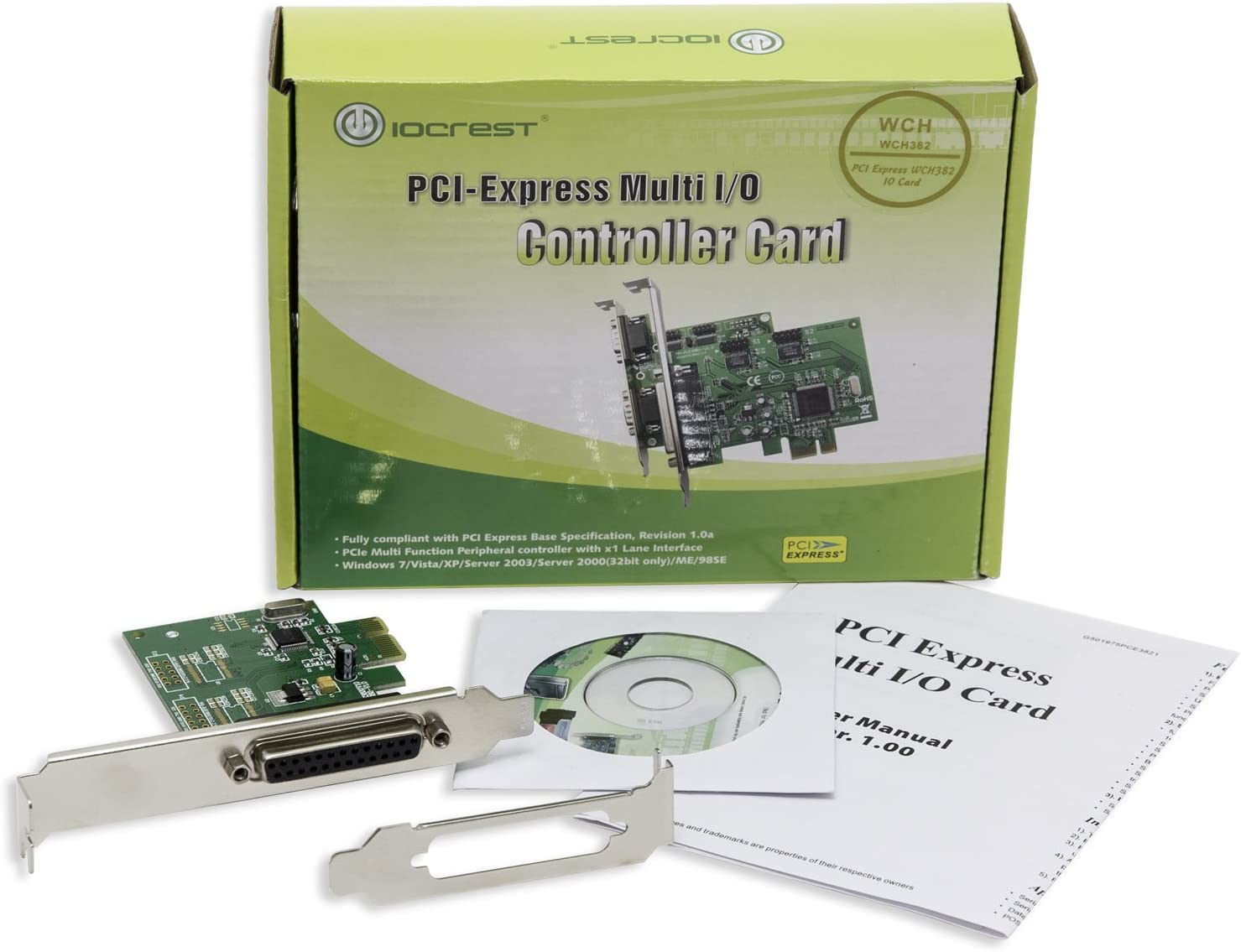 Support SPP EPP//ECP Modes and Centronics Interface PS2 PCI Express to DB25 LPT Printer Converter Adapter Controller with Low Bracket IO Crest 1 Port Parallel PCIe x1 Card