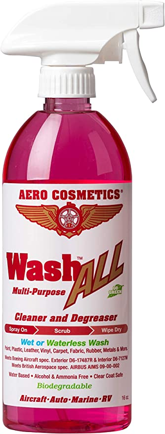 Aero Cosmetics Wet or Waterless Wheel, Tire, Engine, Cleaner Degreaser, Black Streak Remover, Aircraft Exhaust Soot Remover, for your Car, Aircraft, RV, Boat and Motorcycle, Wash ALL Degreaser