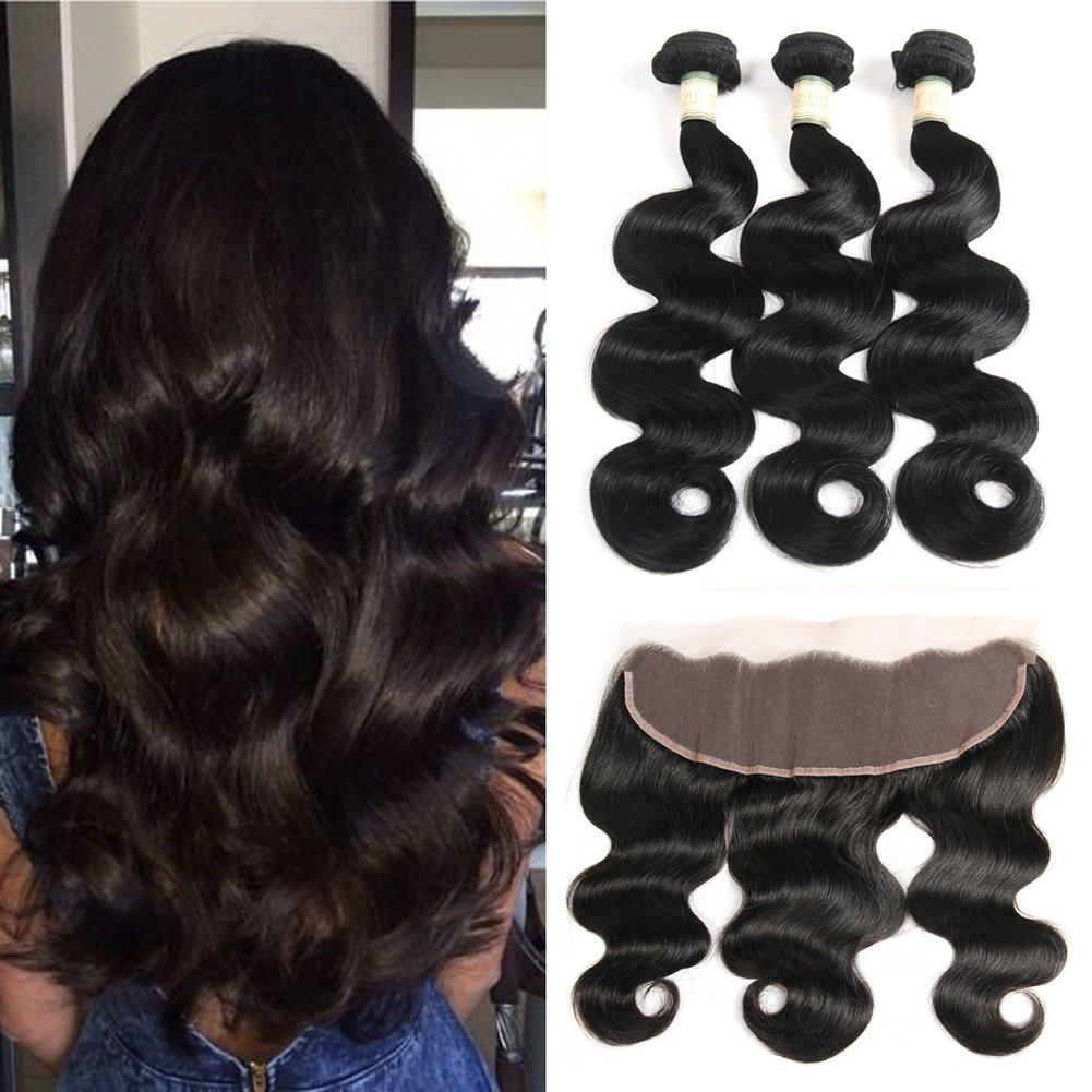 Morichy 7a Peruvian Body Wave 3 Bundles with Frontal Ear to Ear Lace Frontal Closure with Bundles Peruvian Virgin Hair with Closure Human Hair Extensions Lace Frontal 50g/bundle Full Head(8 8 8+8) Nico Hair