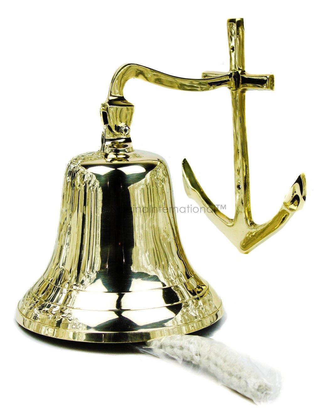 Nagina International 11'' Large Nautical Premium Ringing Brass Bell with Polished Shiny Finish | Beautiful Pirate Themed Decor | Christmas Special