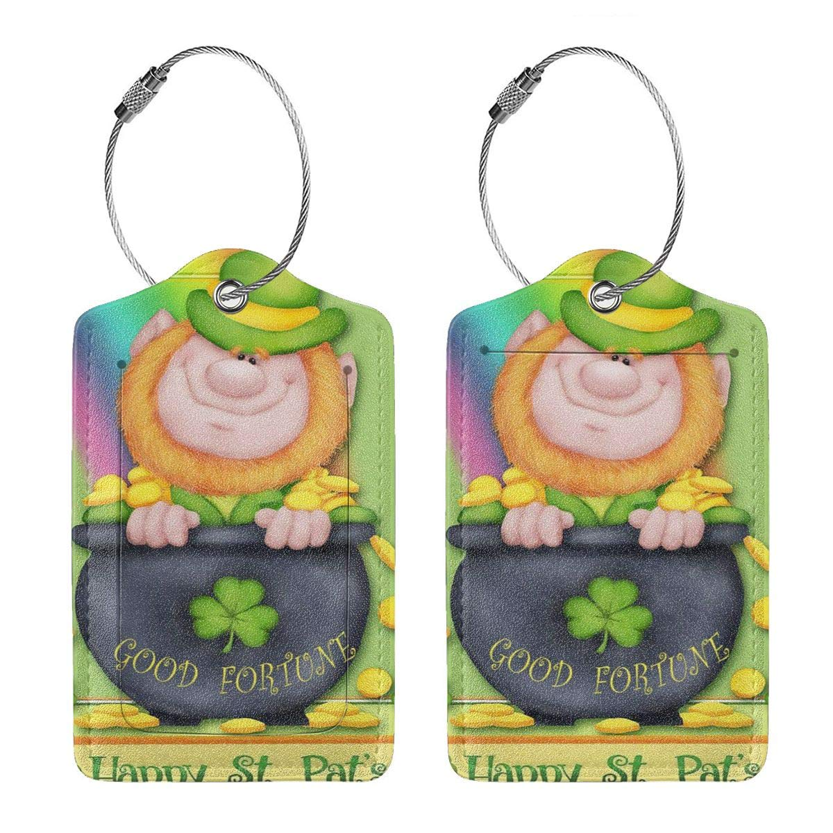 Happy St Patricks Day Irish Leprechaun Good Fortune Leather Luggage Tags Personalized Flexible Custom Travel Tags With Adjustable Strap