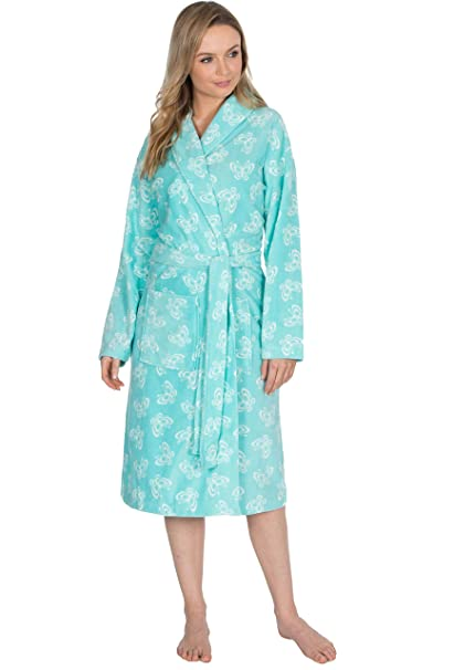 INSIGNIA Ladies Polar Fleece Dressing Gown Bath Robe Wrap Spa Gift Light  Supersoft (Blue Butterfly 18c2355b4
